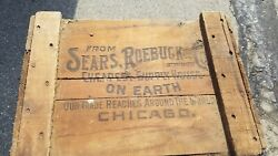 Antique Sears And Roebuck Large Wooden Shipping Crate Box Advertising Nice Lqqk