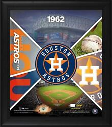 Houston Astros Framed 15 X 17 Team Impact Collage And Piece Of Gu Baseball