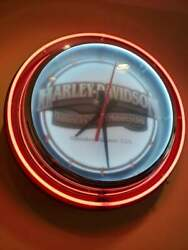 30 Diameter Harley Davidson Roadhouse Collection Double Neon Clock Hdl 10613