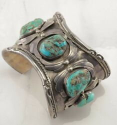 Huge Native American Sterling Silver Cuff Bracelet Blue Turquoise