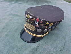 Vintage Southern Railway Conductor Hat / Cap With Lg Collection Of Pins Attached