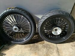 21 X 3.5 And 18x5.5 Bk Fat Spoke Harley Touring 3 Rotors Flh 09 - 19 25mm Non Abs