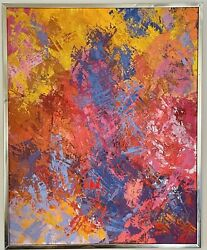 Original Signed Mcm Vintage Abstract Expression Textured Painting E. Mitchell 2