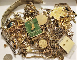 Antique/vintage Gold Plated Scrap Jewelry Lot For Recovery 604.2 Gr