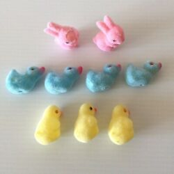 9 Vintage Easter Flocked Plastic Bunny Rabbit Chick Duck Easter Decorations Used