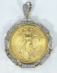 1.50 Ct Diamond 20 Us American Double Eagle Coin Frame 14k Yellow Gold Video