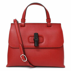 Pre-owned 370831 A7m0n 6523 Bamboo Daily 2way Handbag Red Leather F/s