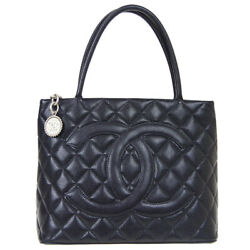 Medallion Quilted Cc Hand Tote Bag 6078160 Purse Black Caviar Skin 81232