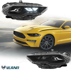 1 Pair Of Led Projector Headlight Dynamic Turn Signal For 2018-21 Ford Mustang