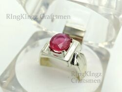 Ruby Silver Rings, Sterling Silver Ruby Ring For Men, Gemstone Ring, Us Size 9