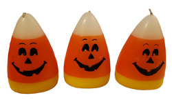 Vintage Halloween Candy Corn Pumpkin Faced Candles Lot Of 3