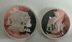 1976 Royal Mint Silver Proof Sudan Conservation Silver £5 And £2.50 Coins