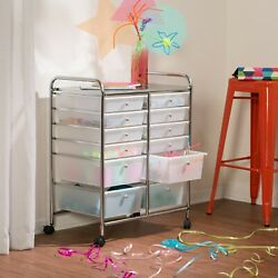 Metal 12 Plastic Drawers Wheels Rolling Storage Cart And Organizer 2day Delivery