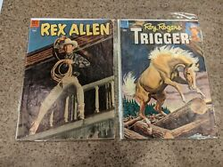Two 2 Golden Age Dell Vg-f Comic Books 1954 Rex Allen 11 And 1955 15 Trigger