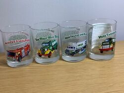 1996 Hess Toy Truck Glasses 4 Collectors Series With Advertising Sign