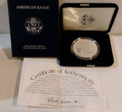 2002-w American Eagle 1 Proof Silver Dollar 1 Troy Ounce Coin Box And Coa Mg