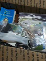 Giant Lot Catholic Rosary Pamplets Padre Pio Medals Book - Popes Frame Angel Pin