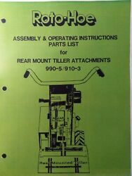 Roto-hoe 990-5 910-3 Walk-behind Tractor Tiller Implement Owner And Parts Manual