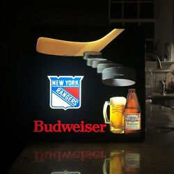 Vintage Ny Rangers Budweiser Lighted Bar Sign For Your Man Cave Or Pub