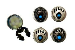Vintage Button Covers Set Of 5 Bear Claw Turquoise Sterling Silver