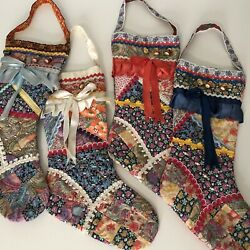Vintage Christmas Stockings Patchwork Boho Paisley Floral Russian 90s Handmade