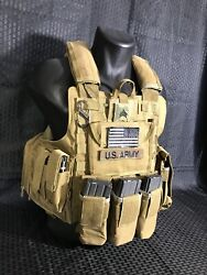 Tactical Vest Coyote Fde Tan Plate Carrier W/ 2 10x12 Curved Plates In Stock