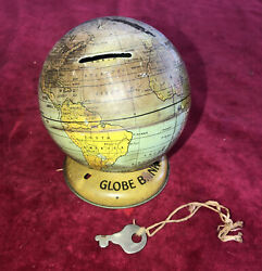 Vintage J. Chien And Co. Tin Litho Andldquoglobe Bankandrdquo With Key 1950andrsquos