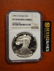 1991 S Proof Silver Eagle Ngc Pf70 Ultra Cameo Classic Brown Label