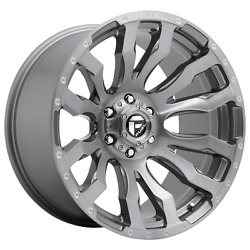 22 Inch 8x7.09 4 Wheels Rims Fuel 1pc D693 Blitz Platinum 22x12 -44mm Gray Tint