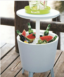 Table And Cooler In One, Outdoor Accent Bbq Patio Deck Pool, Cool Bar Resin White