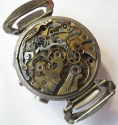 Omega Chronograph Cal 33.3 Mens Wristwatch Movement And Dial In Custom Steel Case