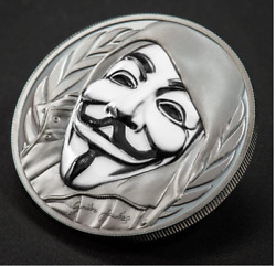 2016 Cook Islands 5 Guy Fawkes Mask Anonymous V For Vendetta 1 Oz Silver Coin