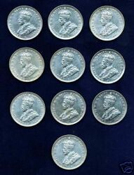 Australia George V 1927-m 1 Shilling Silver Coins Group Lot Of 10 Nice