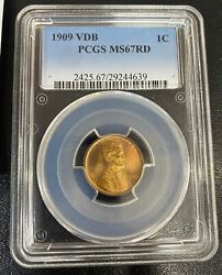 1909 Vdb Lincoln Penny Pcgs Graded Ms67 Rd