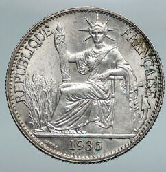 1936 A French Indo-china Vintage Silver 50 Cent Coin Old France Republic I90807