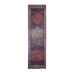 3and0397x14and039 Antique Farsian Bejar Wide Runner Abrash Hand Made Pure Wool Rug R66594