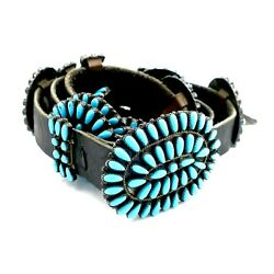 Paul Jones Navajo Sterling Silver Turquoise Native American Belt 42 Inches Long