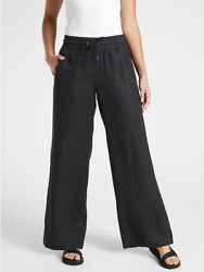 New Athleta 10 Black Cabo Linen Wide Leg Pants M Medium