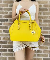 Michael Kors Charlotte Large Top Zip Satchel Crossbody Leather Citrus Yellow $149.99
