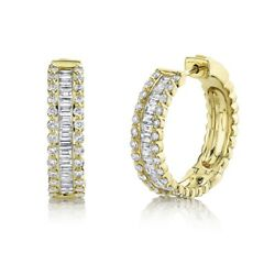Baguette Round Diamond Hoop Earrings 14k Yellow Gold Channel Set Natural 0.85