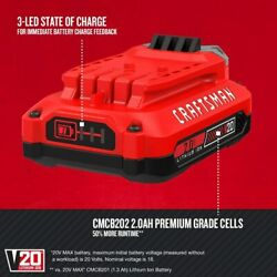 New [factory Real] Craftsman 2.0 Ah 20v Lithium Ion Cmcb202 Single Battery 440