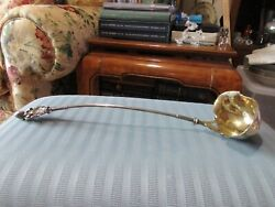 Wood And Hughes Lady Bust Punch Ladle Coin Silver .900 Gold Wash Figural Mono