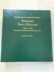 25-coin Kennedy Half Dollar Partially Complete Album 1988-2004 Unc/proof