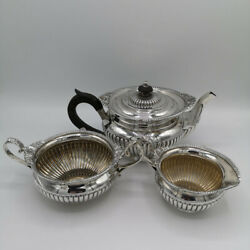 3-teiliges Victorian Tea Set In Silver From Sheffield 1898