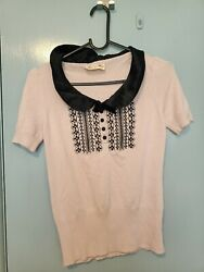 Alannah Hill Pink Jumper Top With Black Embroidery Collar And Buttons In Size 10