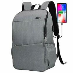 Laptop Backpack for Women Men with USB Charging Port Water 15.6 inch Gray $32.11