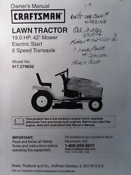 Sears 19.0 Hp Craftsman 917.274650 Lawn Tractor Owner Parts Service 2 Manuals