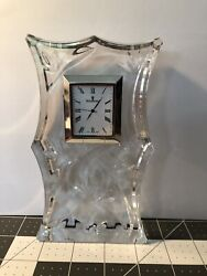 Waterford Crystal Bamboo Large Centerpiece Crystal Clear Clock Pre-owned
