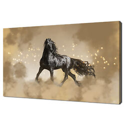 Beautiful Black Friesian Stallion Horse In The Fog Canvas Print Wall Art Picture
