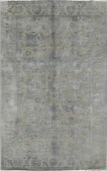 Vegetable Dye Carved Gray Oushak-chobi Area Rug Level Loop Pile Hand-knotted 6x9